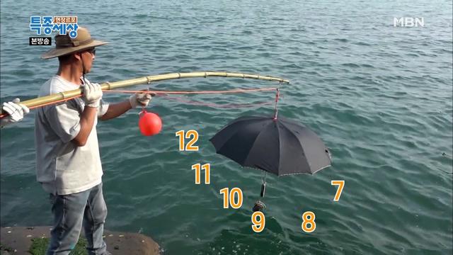 낚싯대에 우산을..