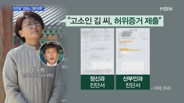 [MBN 뉴스앤이슈] '안희정 부인' 민주원, 김 씨 진단서 올리고 '허위증거' 주장