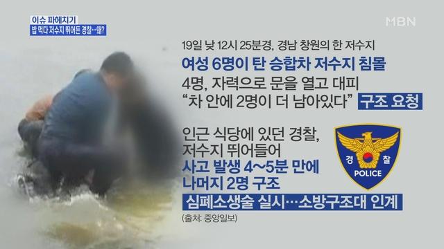 MBN 뉴스파이터-승합차 침몰 중 점심 먹던 경찰관이 구조